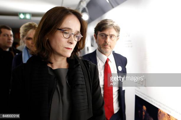 President of France Televisions Delphine Ernotte Cunci visits the exhibition the 'Train de la Presidentielle' hosted in a train at the Gare de Lyon...