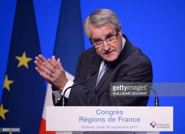 President of France's regions and head of the Grand Est regional council Philippe Richert gestures as he delivers a speech during the opening of the...