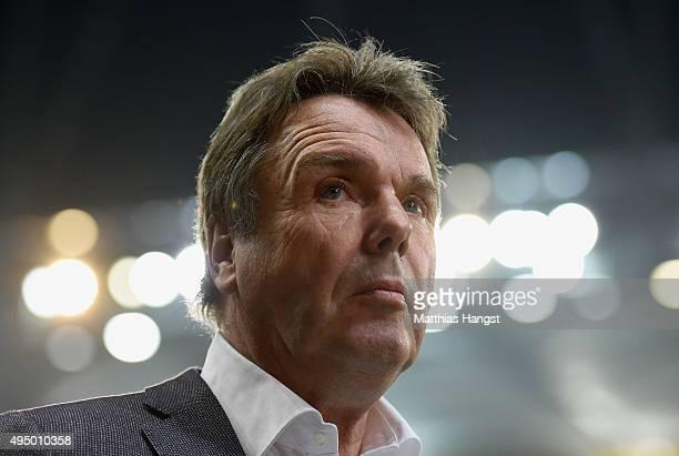 President of Frankfurt Heribert Bruchhagen looks on prior to the Bundesliga match between Eintracht Frankfurt and FC Bayern Muenchen at...