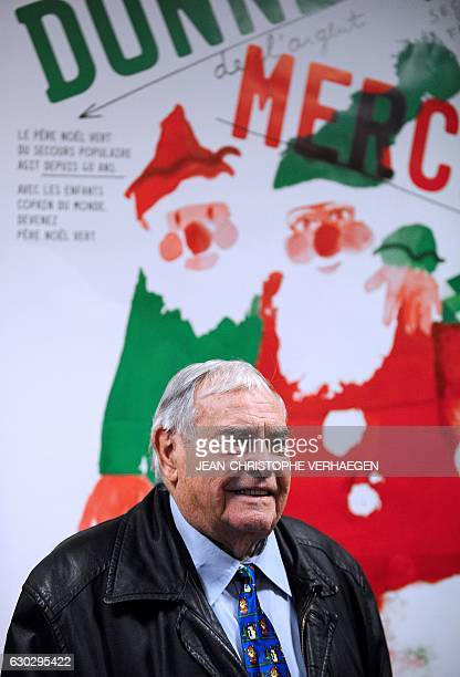 President of French association 'Secours Populaire' French Julien Laupretre delivers a speech as he visits the Secours Populaire of Hayange on...