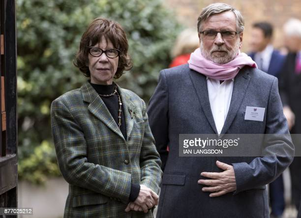 President of French charitable organisation 'Les Restos du Coeur' Patrice Blanc and widow of French founder of 'Les Restos du Coeur' Coluche...