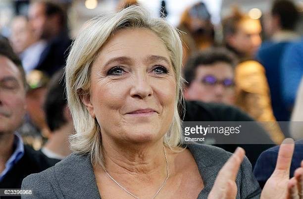 President of French farright Front National party Marine Le Pen attends a meeting on the theme 'Suburbs for the return of the Republic' on November...