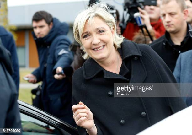 President of French farright Front National party Marine Le Pen leaves after visiting a penitentiary center on February 22 2017 in Meaux France...