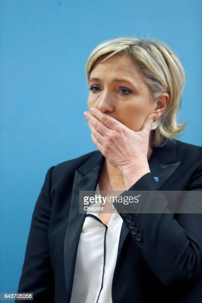President of French farright Front National party Marine Le Pen attends a press conference after visiting a penitentiary center on February 22 2017...