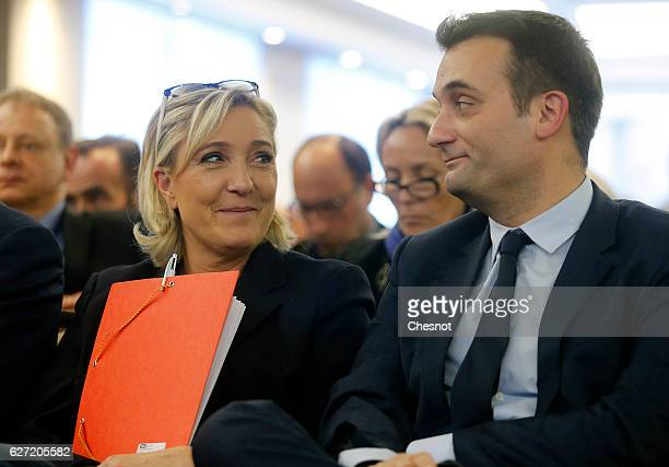 President of French farright Front National party Marine Le Pen and FN's vicepresident Florian Philippot attends a meeting on the theme 'Ecology and...
