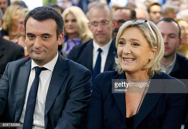 President of French farright Front National party Marine Le Pen and FN's vicepresident Florian Philippot attend a meeting on the theme 'Health...