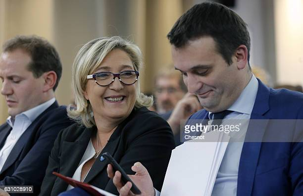 President of French farright Front National party Marine Le Pen and FN's vicepresident Florian Philippot attend a meeting on the theme ''France...