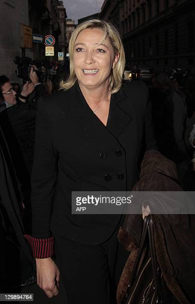 President of French farright party Front national and candidate for the 2012 French presidential election Marine Le Pen arrives for a press debate...