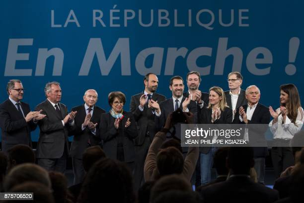 President of French La Republique en Marche parliamentary group Richard Ferrand leader of the French MoDem centrist party Francois Bayrou French...