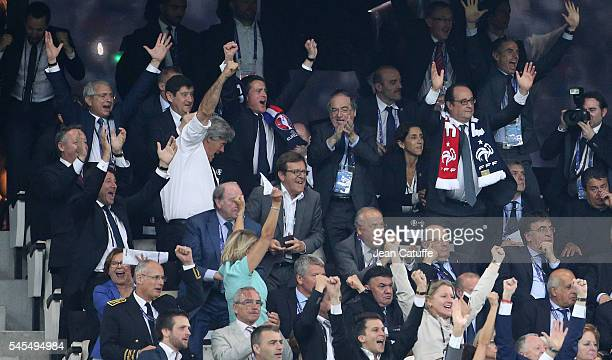 President of French Parliament Claude Bartolone French Ministers Patrick Kanner Stephane Le Foll Thierry Braillard below Christian Estrosi French...