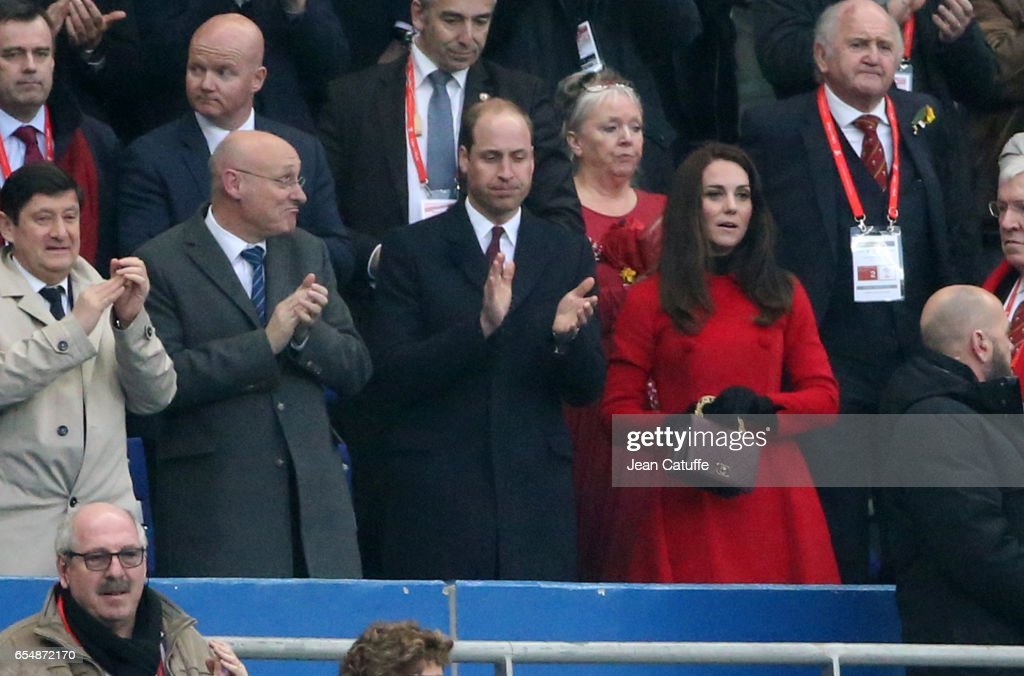 President of French Rugby Federation (FFR) Bernard Laporte, Prince William and Kate Middleton applaud following the RBS 6 Nations rugby match between France and Wales at Stade de France on March 18, 2017 in Saint-Denis near Paris, France.