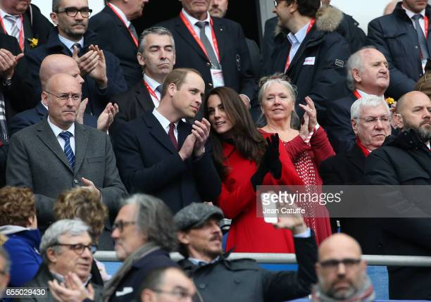 President of French Rugby Federation Bernard Laporte Prince William Duke of Cambridge Catherine Duchess of Cambridge and President of Welsh Rugby...