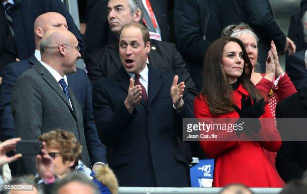 President of French Rugby Federation Bernard Laporte Prince William Duke of Cambridge Catherine Duchess of Cambridge attend the RBS 6 Nations rugby...