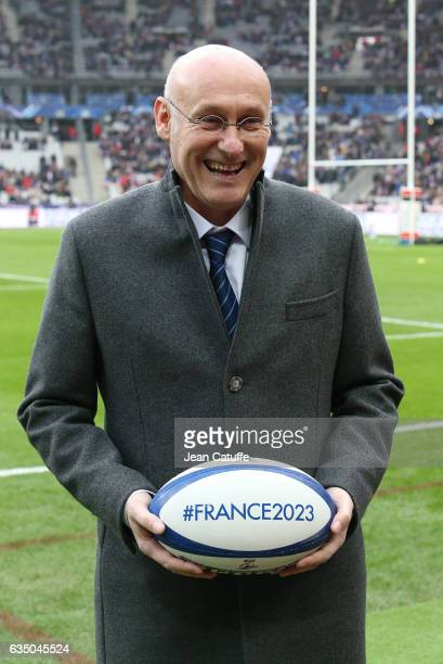 President of French Rugby Federation Bernard Laporte promotes the French candidacy to organize the Rugby World Cup 2023 ahead of the RBS 6 Nations...