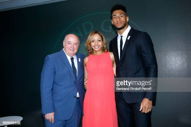 President of French Tennis Federation Bernard Giudicelli Ambassadors of Olympic Games of Paris 2024 and Olympic Champions of Boxe Estelle Mossely and...