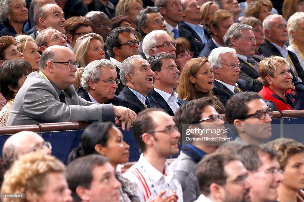 President of French Tennis Federation Jean Gachassin and Minister of the Interior Manuel Valls with his wife violinist Anne Gravoin attend day five of BNP Paribas Tennis Masters held at Bercy on November 1, 2013 in Paris, France.