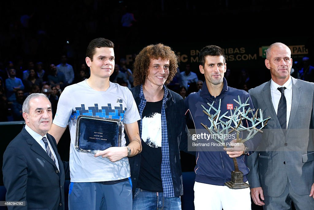 President of French Tennis Federation Jean Gachassin Loser of the final Milos Raonic Football player David Luiz winner of the tournament Novak...