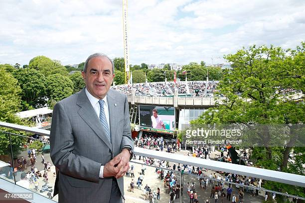 President of French Tennis Federation Jean Gachassin poses in front of 'Place des Mousquetaire' in Roland Garros during the 2015 Roland Garros French...