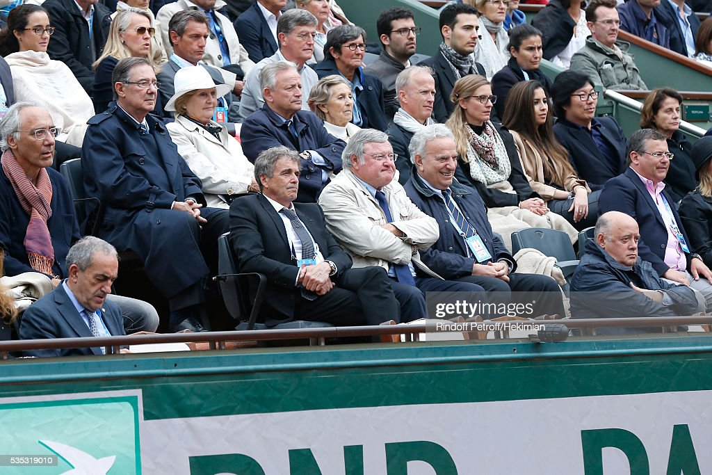 President of French Tennis Federation Jean Gachassin (L), Presidential candidates of the French Tennis Federation : Vice President of French Tennis Federation and President of league of 'Franche Conte', Jean Pierre Dartevelle (2nd L) and General secretary of French Tennis Federation and President of league of 'Corse', Bernard Giudicelli (R) attend Day Height of the 2016 French Tennis Open at Roland Garros on May 29, 2016 in Paris, France.