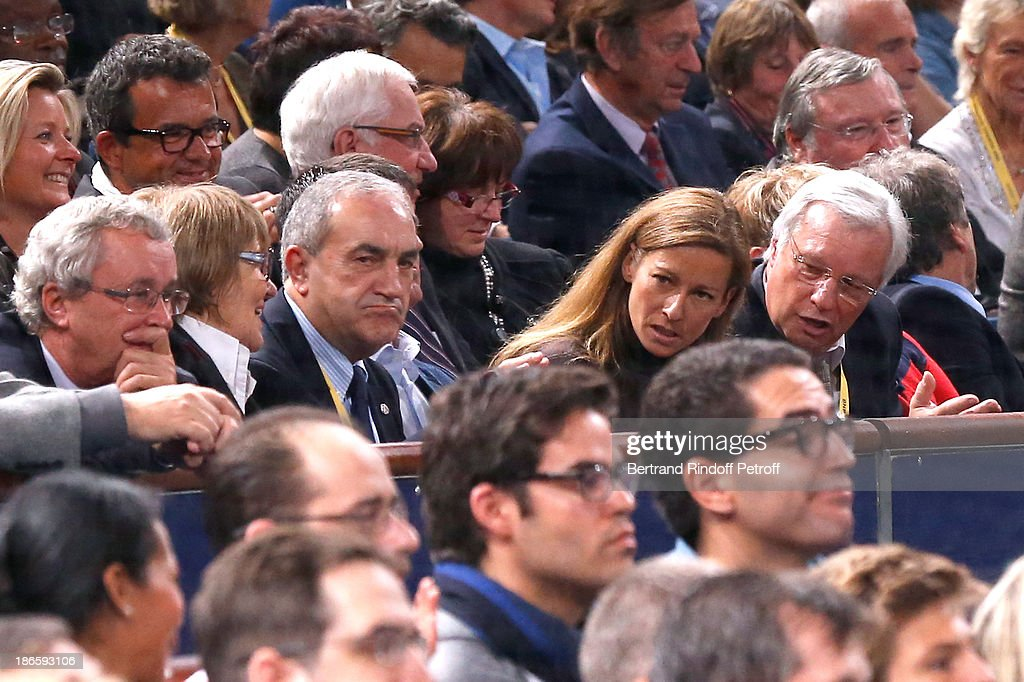 President of French Tennis Federation Jean Gachassin with his wife and violinist Anne Gravoin attend day five of BNP Paribas Tennis Masters held at Bercy on November 1, 2013 in Paris, France.