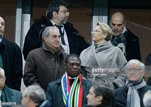 President of French Tennis federation JeanLouis Gachassin and French Politician Michele AlliotMarie attend the international test match between...