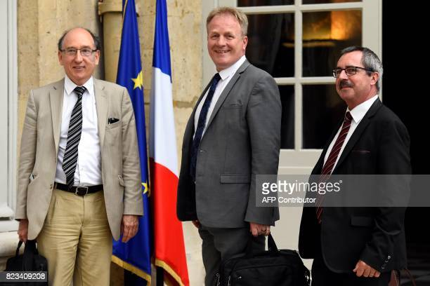 President of French workers'union CFECGC Francois Hommeril poses with French workers' union CFECGC National Secretary for Economy industry...