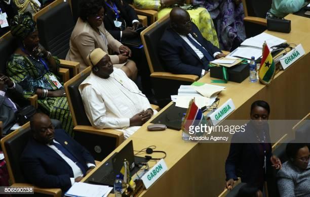 President of Gabon Ali Bongo Ondimba Gambia's President Adama Barrow and President of Ghana Nana AkufoAddo attend the 29th African Union Summit in...