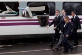 President of Galicia Alberto Nunez Feijoo Spanish Prime Minister Mariano Rajoy and Spanish Minister of Development Ana Pastor arrive at the scene of...