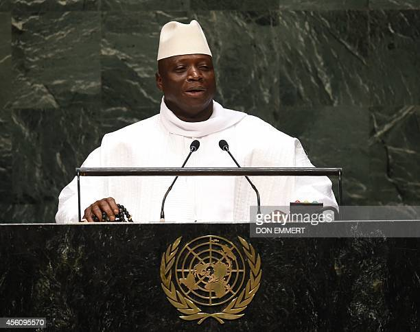 President of Gambia Al Hadji Yahya Jammeh addresses the 69th session of the United Nations General Assembly September 25 2014 at the United Nations...