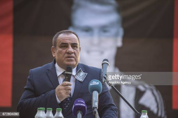 President of Gaziantepsor Ibrahim Kizil speaks during a memorial ceremony held for Czech football player Frantisek Rajtoral who was found dead Sunday...