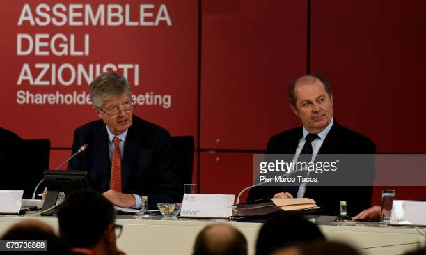 President of Generali Group Gabriele Galateri di Genola and CEO of Generali Group Philippe Roger Donnet attend the Generali shareholders' meeting...