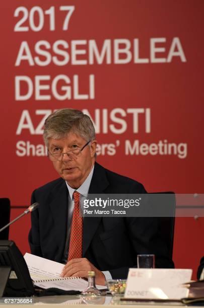 President of Generali Group Gabriele Galateri di Genola attends the Generali shareholders' meeting 2017 on April 27 2017 in Trieste ItalyThe...