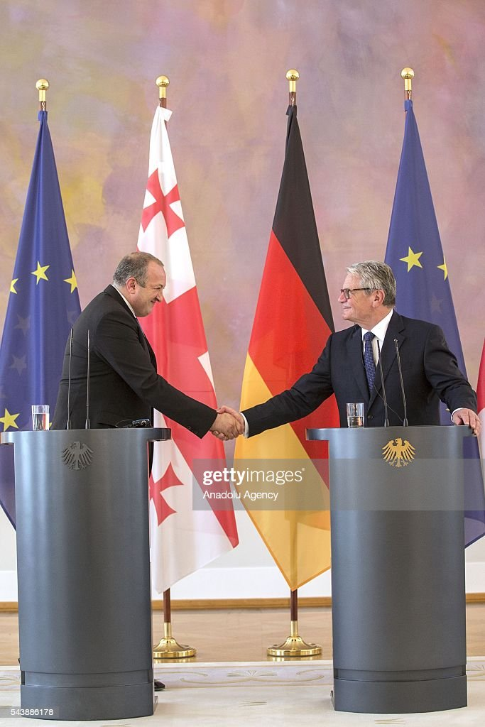 President of Georgia, Giorgi Margvelashvili (L) and President of Germany, Joachim Gauck (R) hold a joint press conference following their meeting in Berlin, Germany on June 30, 2016.