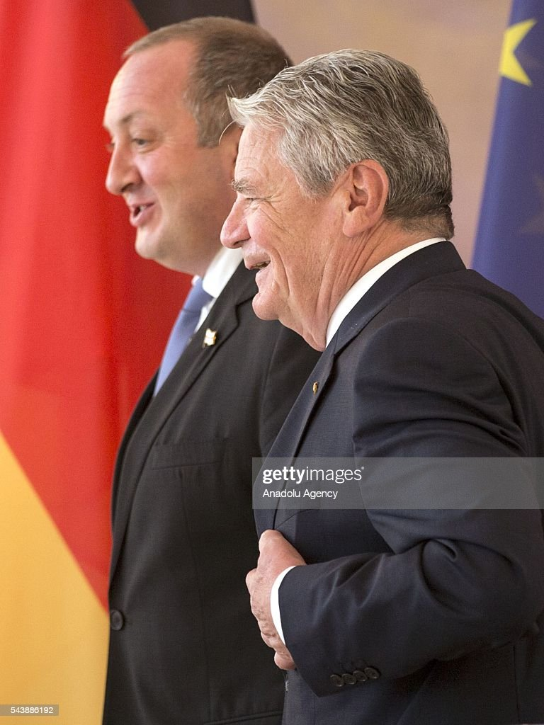 President of Georgia, Giorgi Margvelashvili (L) and President of Germany, Joachim Gauck (R) prepare to hold a joint press conference following their meeting in Berlin, Germany on June 30, 2016.