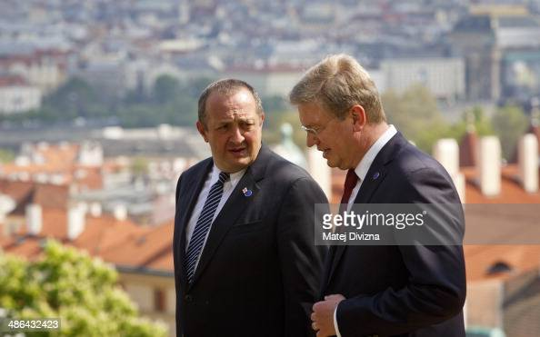 Acting Foreign Minister of Ukraine Andriy Deshchytsia talks to EU commissioner for Enlargement and European Neighborhood Policy Stefan Fule before...