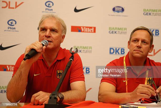 President of German track and field federation Clemens Prokop speaks at a press conference ahead of the 14th IAAF World Championships at the Golden...