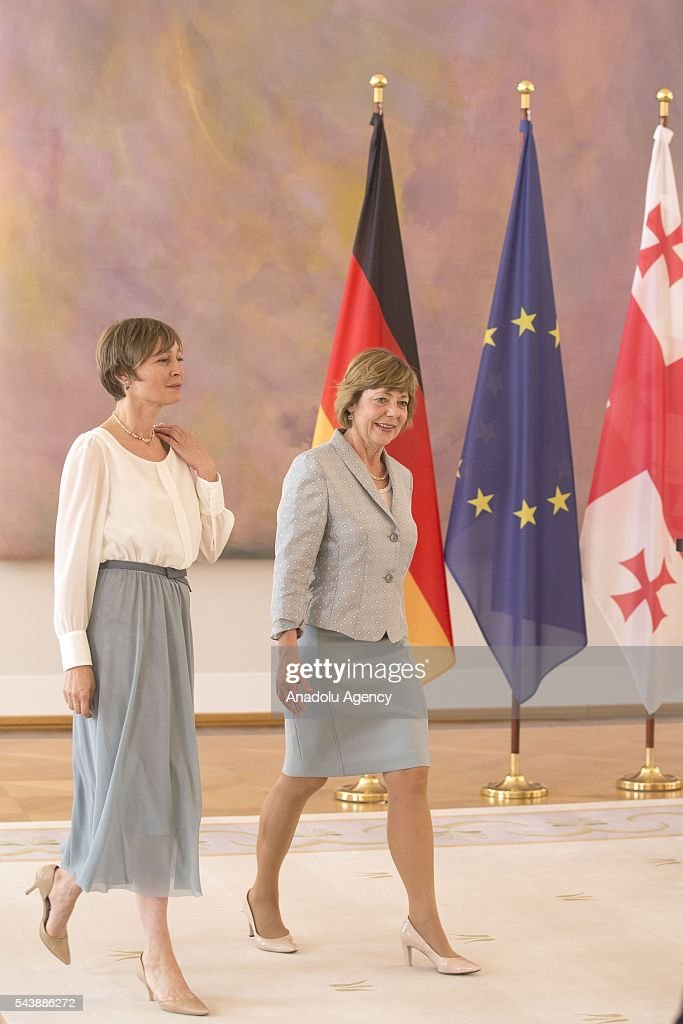 President of Germany, Joachim Gauck's partner Daniela Schadt (R) and President of Georgia, Giorgi Margvelashvili's wife Maka Chichua (L) attend the meeting between the two leaders in Berlin, Germany on June 30, 2016.