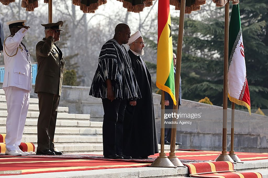 President of Ghana, John Dramani Mahama (2nd R) and President of Iran, Hassan Rouhani (R) listens national anthems during an official welcoming ceremony at Sa'dabad Palace in Tehran, Iran on February 14, 2016.