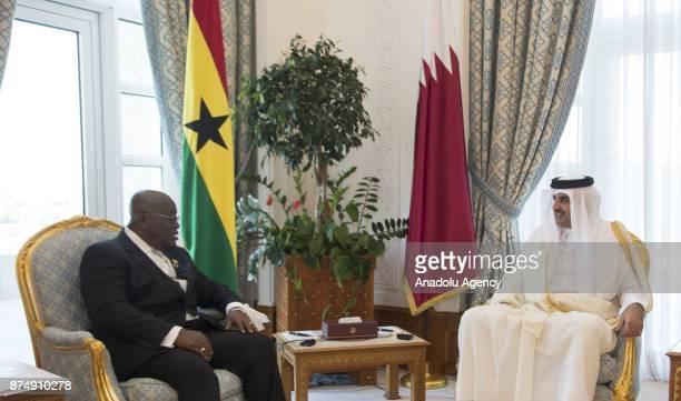 President of Ghana Nana AkufoAddo meets with Emir of Qatar Sheikh Tamim bin Hamad Al Thani in Doha Qatar on November 16 2017