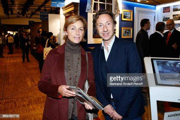 President of 'Grevin International' Beatrice de Reynies and Stephane Bern attend the Official Visit of Stephane Bern at the 'International Exhibition...