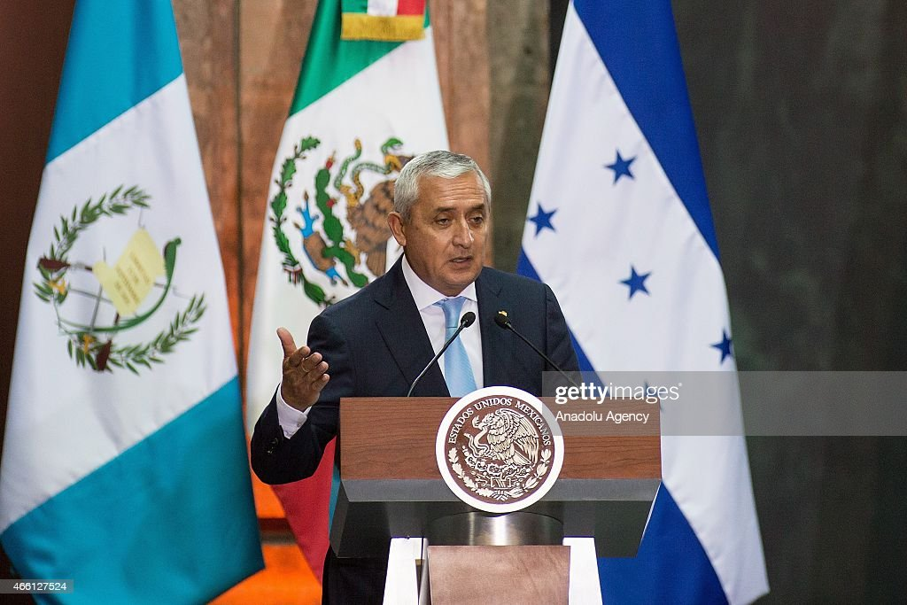 President of Guatemala Otto Perez Molina attends a press conference with President of Honduras Juan Orlando Hernandez Alvarado and President of...