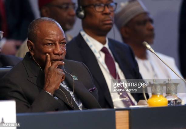 President of Guinea Alpha Conde attends the 9th D8 Organization for Economic Cooperation Summit in Istanbul Turkey on October 20 2017