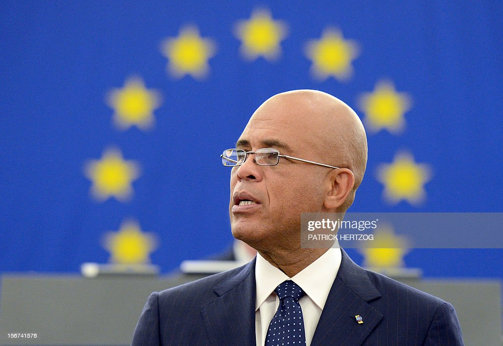 President of Haiti Michel Martelly addresses European MPs during a plenary session at the European Parliament, on November 20, 2012 in Strasbourg, eastern France. AFP PHOTO / PATRICK HERTZOG