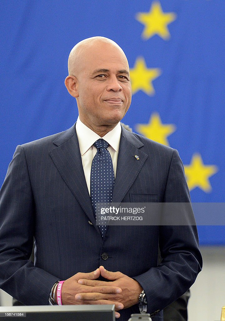 President of Haiti Michel Martelly addresses European MPs during a plenary session at the European Parliament, on November 20, 2012 in Strasbourg, eastern France.