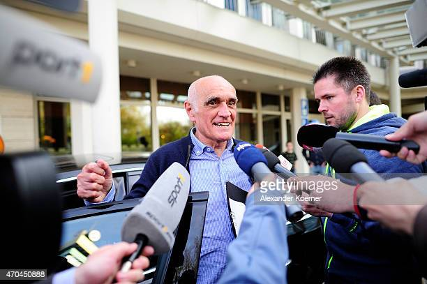 President of Hannover 96 Martin Kind leaves the Courtyard Hotel after negotiating with Peter Neururer on April 20 2015 in Hanover Germany Hannover 96...