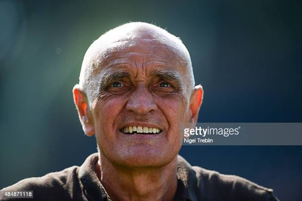 President of Hannover Martin Kind is pictured prior to the Bundesliga match between Hannover 96 and Bayer 04 Leverkusen at HDIArena on August 22 2015...