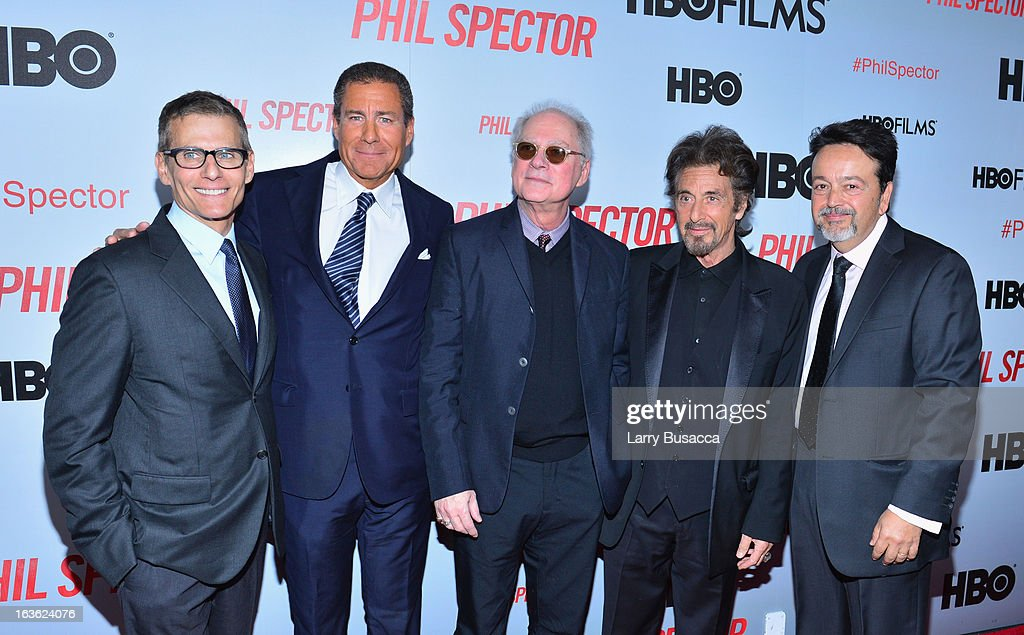 President of HBO programming Michael Lombardo, HBO CEO <a gi-track='captionPersonalityLinkClicked' href=/galleries/search?phrase=Richard+Plepler&family=editorial&specificpeople=584118 ng-click='$event.stopPropagation()'>Richard Plepler</a>, producer <a gi-track='captionPersonalityLinkClicked' href=/galleries/search?phrase=Barry+Levinson&family=editorial&specificpeople=221310 ng-click='$event.stopPropagation()'>Barry Levinson</a>, actor <a gi-track='captionPersonalityLinkClicked' href=/galleries/search?phrase=Al+Pacino&family=editorial&specificpeople=202658 ng-click='$event.stopPropagation()'>Al Pacino</a>, and HBO Films President Len Amato attend the 'Phil Spector' premiere at the Time Warner Center on March 13, 2013 in New York City.