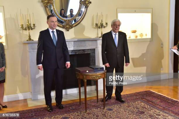 MANSION ATHENS ATTIKI GREECE President of Hellenic Republic Prokopis Pavlopoulos and President of the Republic of Poland Andrzej Duda before the...
