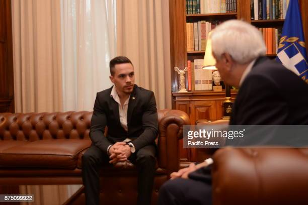 MANSION ATHENS ATTIKI GREECE President of Hellenic Republic Prokopis Pavlopoulos with golden medalist of rings Lefteris Petroulias during their...