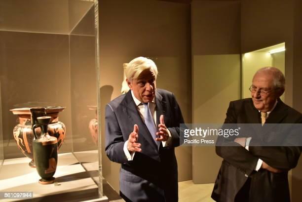 MUSEUM ATHENS ATTIKI GREECE President of Hellenic Republic Prokopis Pavlopoulos with Professor Dimitrios Pantermalis during the tour's exhibition in...